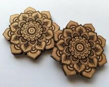 Laser Cut Alder Wood Mandala Lotus Flower Home Decor ( Wall Decor, Accent Piece)