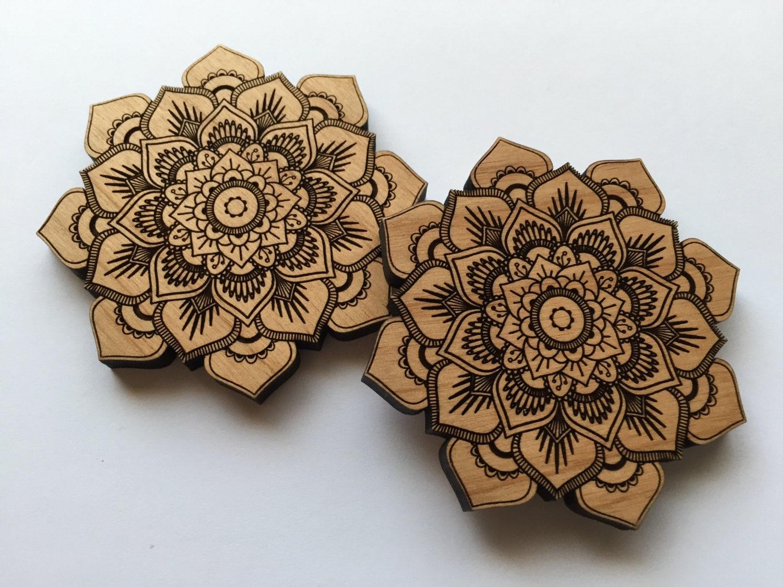 Wall Decor Pieces : Laser cut alder wood mandala lotus flower home decor