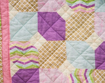 Modern Baby Quilt-X's and O's-Baby Girl Blanket-mint-purple-pink-Handmade
