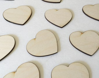 50 - 1 inch wood hearts - unfinished wooden hearts for wedding and parties
