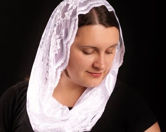 White mantilla lace chapel veil infinity scarf.