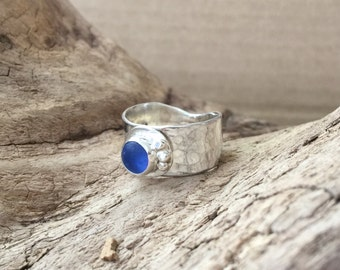 Forged Cornflower Blue Sea Glass Ring