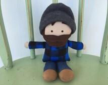 Lumberjack little boy rag doll, blue and black buffalo plaid, perfect for imaginative play!