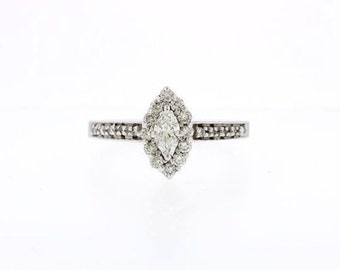 0.75 CT Natural Diamond Halo Marquise Engagement Ring In Solid 14k White Gold