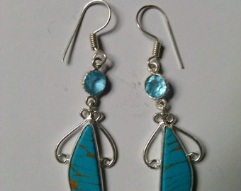 Turquoise and blue topaz earrings