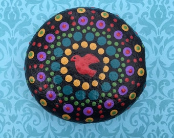 Holy Spirit Mandala Prayer Stone - painted rock - prayerful art