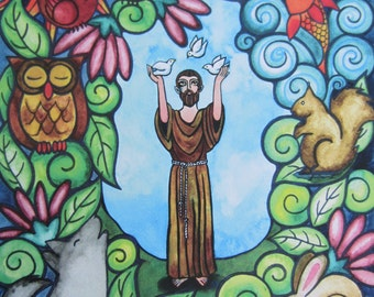 """Saint Francis of Assisi - Brother Sun and Sister Moon - Colorful Print of an original watercolor painting - 11"""" x 14"""""""