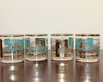 FOUR – Set of Four Libbey Glass Southern Comfort Steamboat Turquoise and Gold on the Rocks Glasses