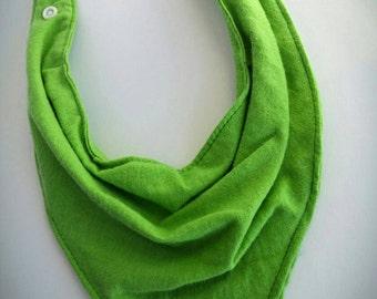 Baby Bandanna Bib, Baby bib, Dribble Bib, Drool Bib - Solid Green