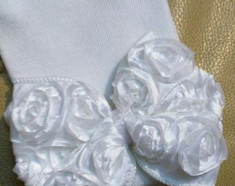 Newborn Hospital Hat. White with White Chiffon Bow. Baby Beanie. 1st Keepsake! Newborn Beanies. Great Gift and Going Home Hat!