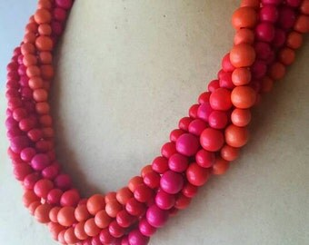 Wood Bead Statement Necklace Wood Bead Necklace Pink Wood Bead Orange Wood Bead Cranberry Wood Bead Red Wood Bead Multi-Strand Necklace
