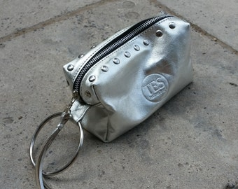 Leather Pouch with Metal Ring Holder, Leather Clutch, Zipper Clutch, Leather Makeup Bag, Leather Clutch With Wristlet