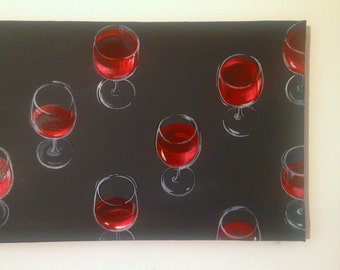 Large wall art painting/ Large original painting/ Minimalist black painting/ Red wine glass/ Modern kitchen paintings/ Large living room art