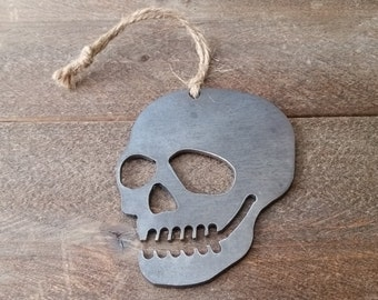Bone Skull Ornament Rustic Metal Christmas Tree Ornament Holiday Gift Industrial Decor Wedding Favor By BE Creations