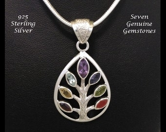Tree of Life Pendant with 7 Genuine Gemstones set in a 925 Sterling Silver Tree, a Truly Stunning Tree of Life Necklace Pendant TOLP081
