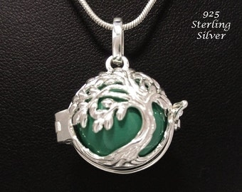 Chiming Tree of Life Necklace, Sterling Silver Celtic Tree of Life Cage with a Green Harmony Chime Ball | Harmony Necklace, Angel Caller 792