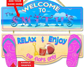 Personalized Beach Welcome 3-D Hardboard Wall Sign