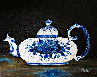 Tea pot art, tea pot canvas giclee, tea pot collector, Russian tea pot, Tea pot vintage, Tea pot charm, kitchen wall art, Kitchen wall art