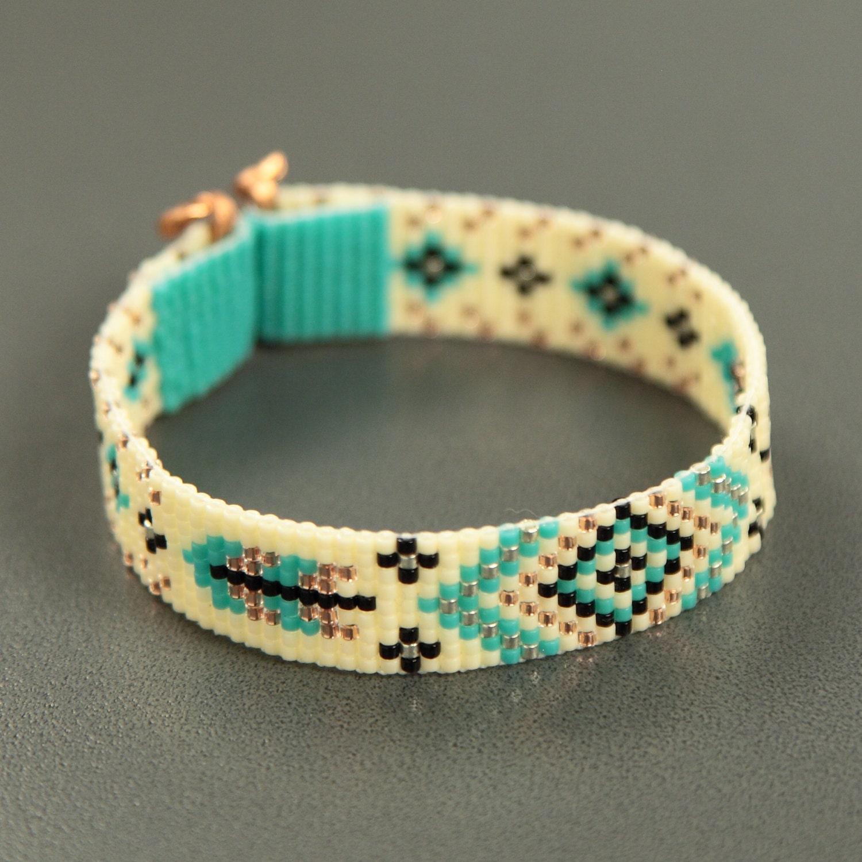 turquoise feathers bead loom bracelet bohemian boho artisanal