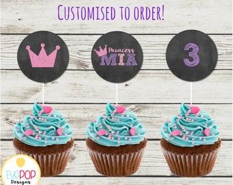 CHALK PRINCESS Cupcake Toppers * Princess Party * Pink Purple Chalkboard * Party Decor * Digital
