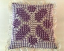 Vintage 12 inch Lavender and White Gingham Throw Pillow with Chicken Scratch Embroidery Star and Eyelet Trim