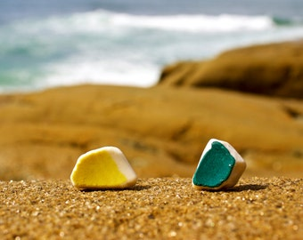 Teal and Yellow-Green Mismatched Ceramic Earrings