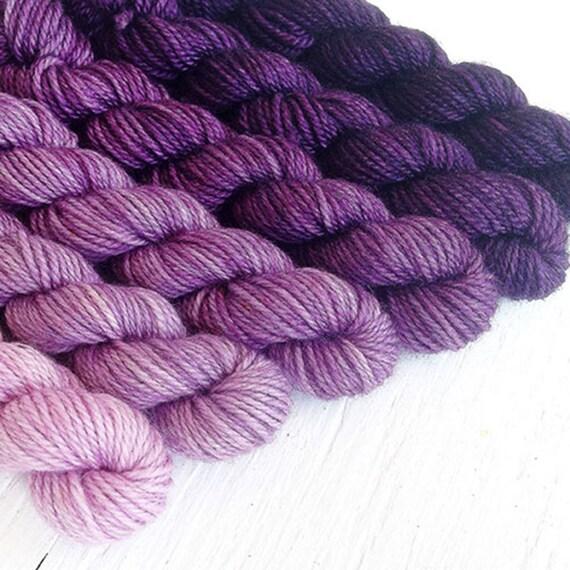 ROYAL PURPLE 480 yard mini-skein set, High Twist Sock, superwash, merino, fingering weight, sock yarn, gradient, ombre