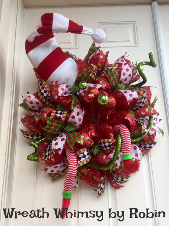Xl Deco Mesh Holiday Elf Wreath Red With Lime Green And Hat