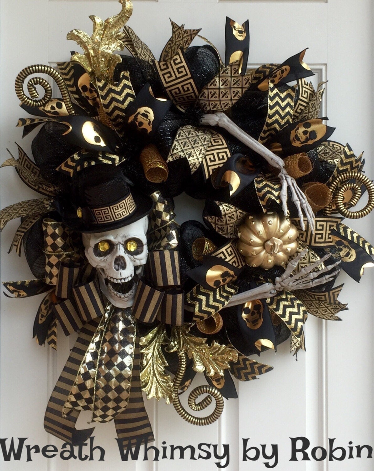 Halloween Skeleton Black Amp Gold Deco Mesh Wreath Skeleton