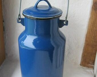 French Enamel Milk Pail/Pot.