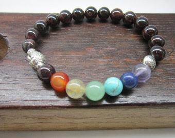 Garnet Chakra Bracelet, Garnet 7 Chakra Gemstone Bracelet, Yoga Chakra Bracelet Garnet Chakra Meditation Bracelet Mala Chakra Yoga Bracelet