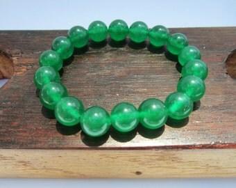 Green Jade Bracelet, Heart Chakra Bracelet, Yoga Meditation Bracelet Green Jade Power Healing Good Luck Bracelet Green Jade Healing Bracelet