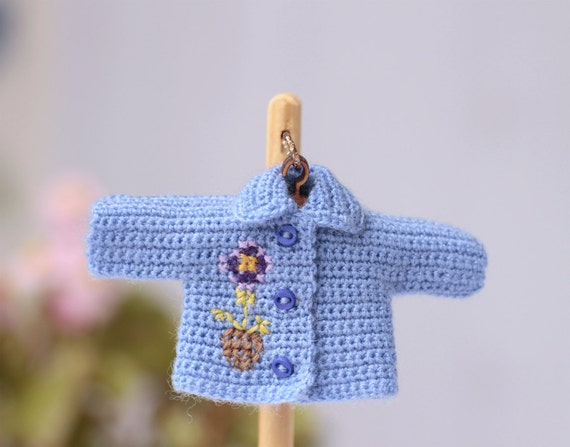 Crochet Mini Doll Clothes : Miniature doll crocheted blue jacket with flower embroidery.