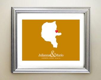 Lipari Custom Horizontal Heart Map Art - Personalized names, wedding gift, engagement, anniversary date
