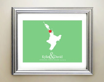 North Island Custom Horizontal Heart Map Art - Personalized names, wedding gift, engagement, anniversary date