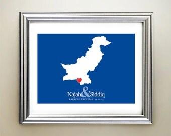 Pakistan Custom Horizontal Heart Map Art - Personalized names, wedding gift, engagement, anniversary date