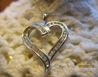 Handcrafted Designer .20ctw Genuine Diamond .925 Sterling Silver Heart with 18 Inche 925 Chain, Wt. 4.3g