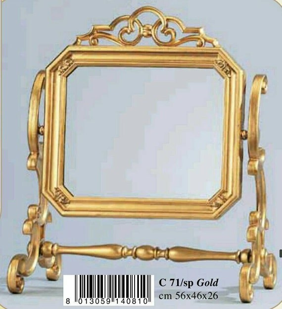 Gold Vanity Mirror Table Top Rectangle Ornately By StormyShells
