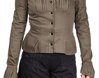 veste à plis avec col montant, simple boutonnage, doublure fantaisie