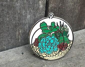Succulent Terrarium Enamel Pin-Hard Enamel Pin-Cactus pin-Terrarium Pin-Succulent Pin-Succulent Jewelry-Gift Idea-Pin Collector-Brooch