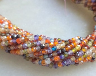 Cubic zircon multi color micro cutting faceted beads 3-3.5 mm