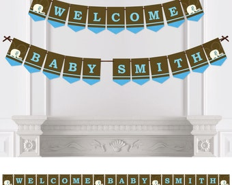 Blue Elephant - Bunting Banner - Personalized Baby Shower or Birthday Party Decorations