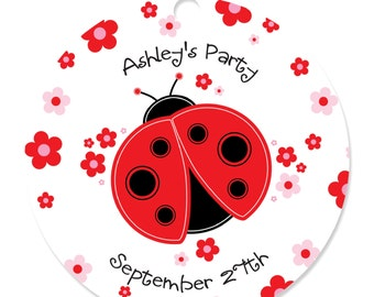 Ladybug Personalized Party Tags - Baby Shower or Birthday Party DIY Craft Supplies- 20 Count