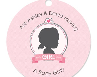 20 Gender Reveal - Girl Personalized Party Tags - Baby Shower Party DIY Craft Supplies