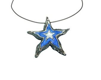 Starfish Silver Necklace, Beach Wedding Necklace, Mermaid Necklace, Seastar Shell, Seashell Necklace, Enamel Jewelry, Summer Jewelry
