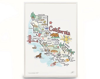 California Map Art, California Map, California Print, Unframed, Print Signed by Artist, Printed on watercolor paper
