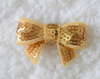 """1.5"""" Sequin Bow Applique, Embellishment for Hair Bows, DIY Hairbow Supplies, Mini Applique Sequin Bow, Gold, Lot of 1 or 2"""
