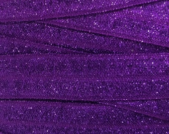 Purple Frosted Fold Over Elastic, Glitter Elastic for Baby Girl Headbands and FOE Harties, Frosted FOE By the Yard or 5 Yards or 10 Yards