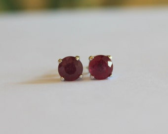 6mm Treated Ruby Gemstone Silver Studs 92.5 Prong Setting - FREE SHIPPING
