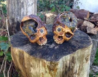 Gory Horror Skulls. Macabre Skull Sculpture.